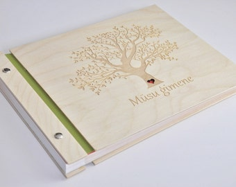 custom wood photo album / memory book / family album / photo album scrapbook