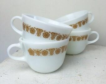 Vintage Pyrex Milk Glass Mugs Butterflies Set of 4