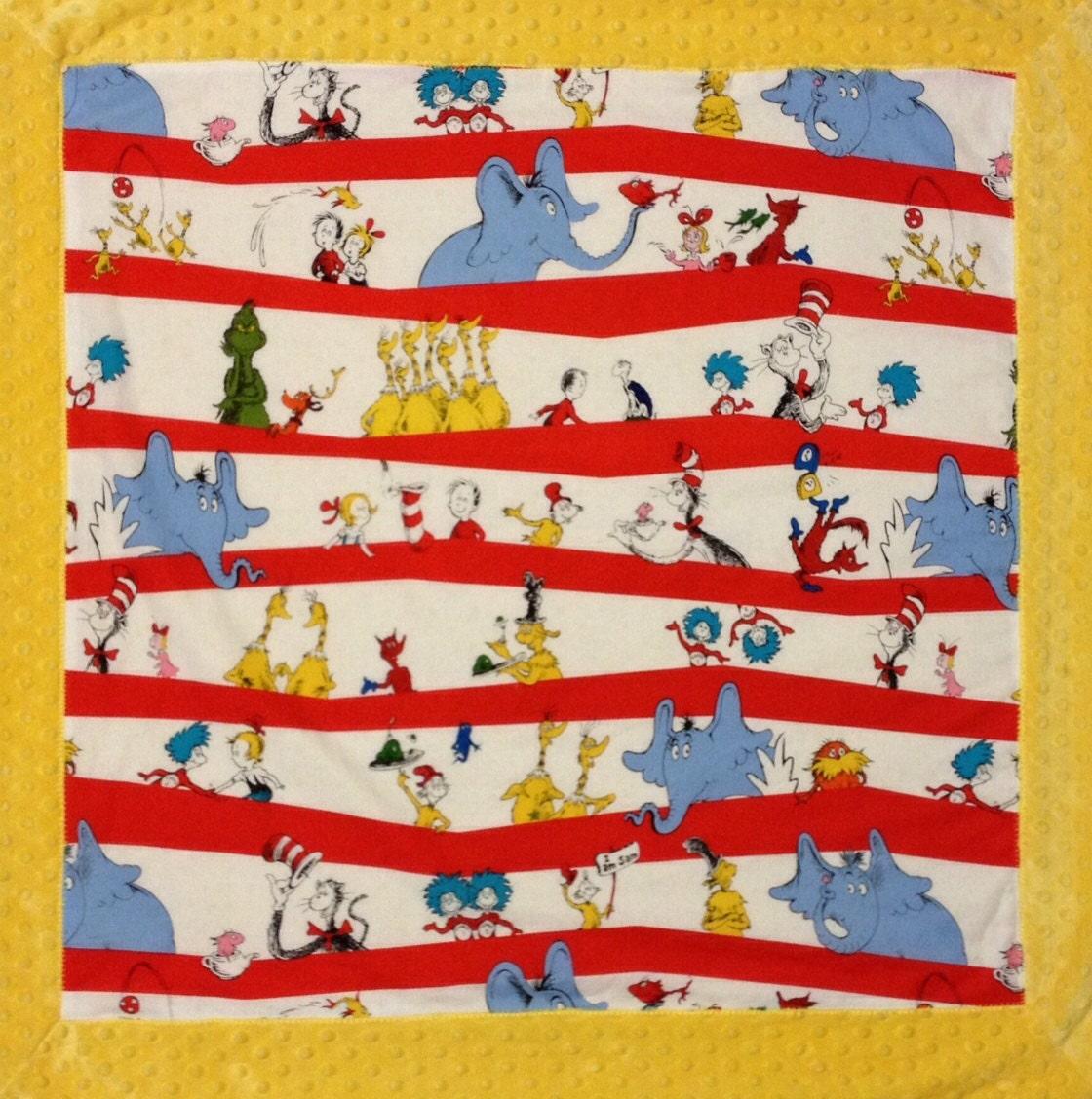 Dr. Seuss Minky manta de cuna de bebé algodón y Minky