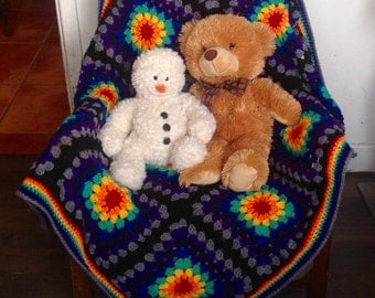Rainbow Baby Blanket. Large Crochet Cot Blanket.