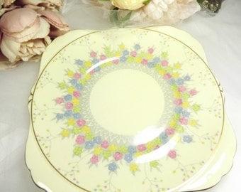 Vintage Royal Grafton Pastel Florals Cake Plate