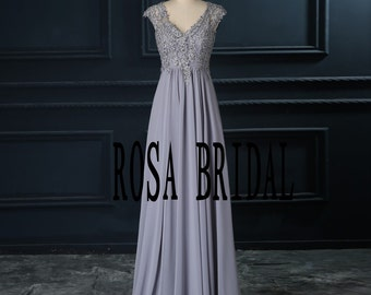 Silver/ Gray bridesmaid dress V Neck ,  Long bridesmaid dress Custom Size color