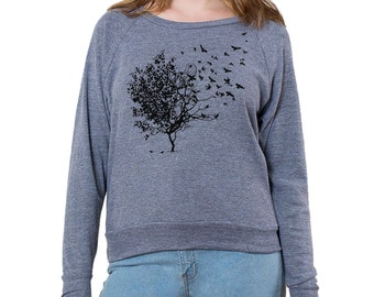 Bird Tree Graphic printed on Women's American Apparel long sleeve pullover