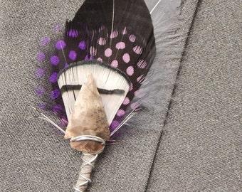 Arrowhead Feather Boutonniere