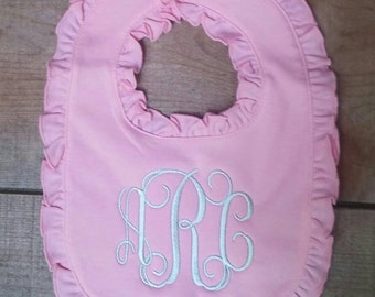 Personalized Pink Ruffle Bib with Gray Monogram for Baby Girl