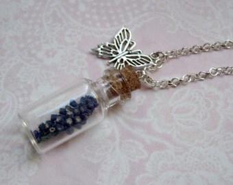 Silver chain grape hyacinth glass vials