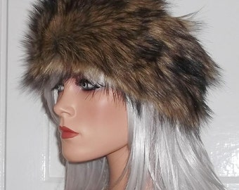 Long Haired Chestnut Brown Fur Headband with Black made in Soft Faux Fur