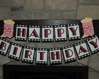 Movie birthday party banner.  Cinema birthday party banner. Movie party decorations.