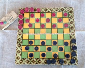 Milton Bradley Board Paper Board Games with Wooden Markers, Checkers ,Backgammon,Complete Box of Checkers