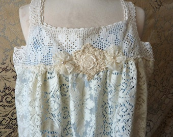 Romantic antique lace fairy handmade dress and trims, whimsical bohemian