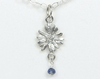 September Birthday Aster Flower Necklace w/ Sapphire Birthstone Colored Crystal - September Birthday | Wedding -Handcraft Pewter Made in USA