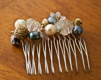 SIRENA COLLECTION - Handmade Hair Comb with Freshwater Pearls, Swarovski Crystals, and Semi-precious Stones