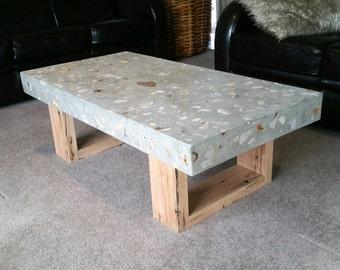 Good Polished Concrete Grey Coffee Table 1.2 X 600mm, Vic Ash Hardwood Loop End  Base.