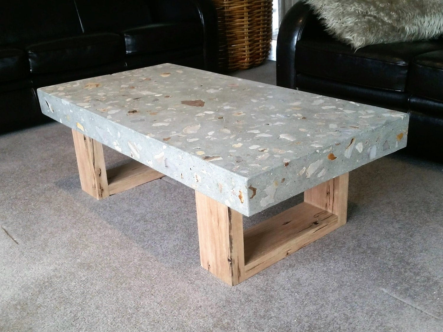 Polished Concrete Grey Coffee Table 1 2 X 600mm Vic Ash