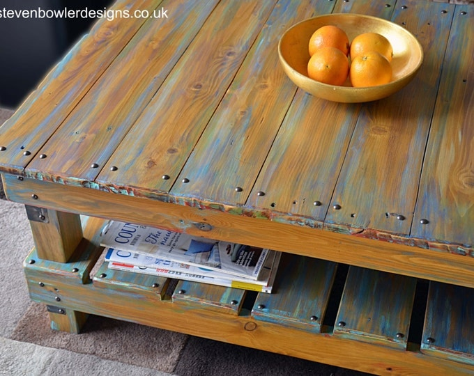 FREE UK SHIPPING Handcrafted to Order Rustic Reclaimed Wood Coffee Table Handpainted Multicoloured Boatwood Finish & Under Shelf Storage