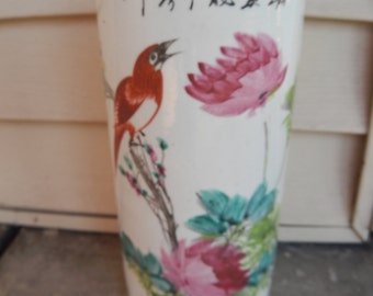 1800's Antique Chinese Capstand/Cylinder Hand Painted Vase!