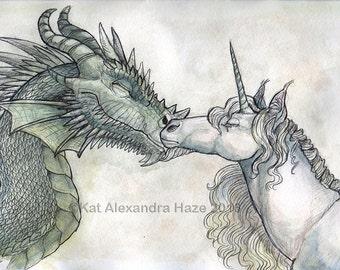 Dragon and Unicorn Print