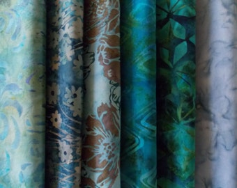 "Teal Batiks Fabric 30 Pc. Jelly Roll 2.5"" Strips High Quality Cotton No Duplicates! 44"" Long Strips"