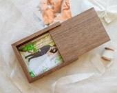5x7 Engraved Slide Top Walnut Wood Photography Print Box