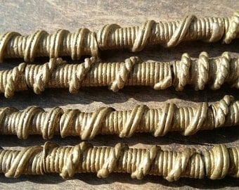 African tubular brass beads from Ivory Coast, 2 vintage metal beads , 26/28 x 6 mm., Fair Trade
