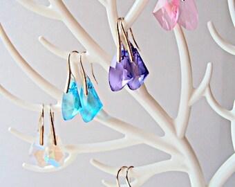 Large Glass Crystal Earrings Dangle Glass Earrings Purple White Blue Green Pink Earrings Wedding Jewelry Ready to ship