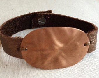 Copper leather bracelet