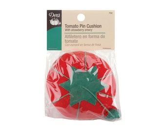 Red Tomato Pin Cushion with Strawberry Emery 1 Count