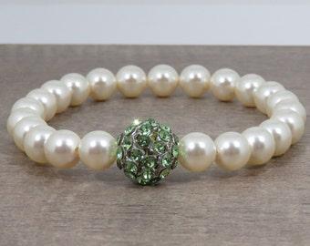 Cream Pearl Bracelet, Swarovski Crystal Peridot Bracelet, Swarovski Pave Ball Bracelet, Peridot Green Bracelet, August Birthstone