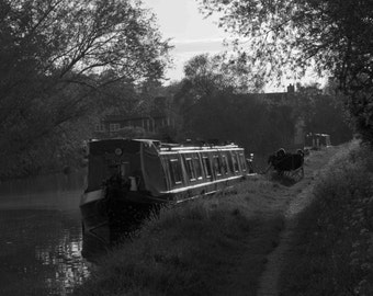 Download, Canal boat, Shropshire Union Canal, Shropshire, black and white photograph, wall art, computer wallpaper, screensaver