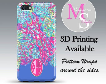 Monogram iPhone Case. Lilly Pulitzer Inspired Monogrammed iPhone 4, 4S, Iphone 5C, iPhone 5, 5S, iPhone 6, iPhone 6 Plus Tough Case #2617