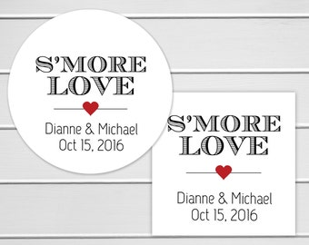 S'More Wedding Favor Stickers, S'more Stickers, Smore Wedding Labels (#182)