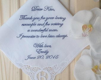 Personalized Wedding Handkerchief  Mother of the groom. for the Mother in law. Embroidered Custom Gift to mother in laws. Monogrammed