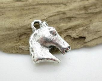 Mykonos Horse Pendant, Greek Horse Head, Pewter Horse, Small Horse Pendant 18x16mm (2)