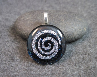 SPIRAL Dichroic Glass Pendant Necklace