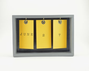 Wooden Desk Calendar, Desk Calendar, Wooden Perpetual Calendar, Wooden Calendar, Office Decor, Desk Decor, Desk Accessories