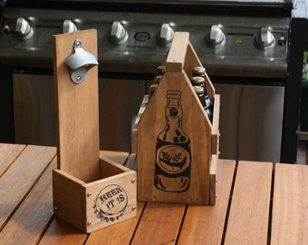 Christmas - Beer - Timber Beer Crate and Carrier + Wall Mounted Capper - Men - Husband - man - boyfriend - dad - uncle -