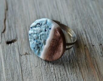 Accent Round Geometric Ceramic Ring - Ceramic Jewelry - Gift for Her - Boho Jewelry - Statement Ring - Clay Jewelry - Handmade Ring