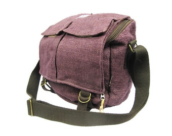 Hemp Messenger Bag / Camera Satchel / iPad Satchel - Handmade (Purple)