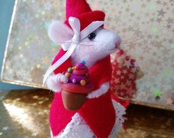 Topolino di lana infeltrita ad ago ooak dimensioni reali regalo natalizio Christmas mouse needle felted decorative