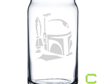 Star Wars - Boba Fett - Etched Glass Can