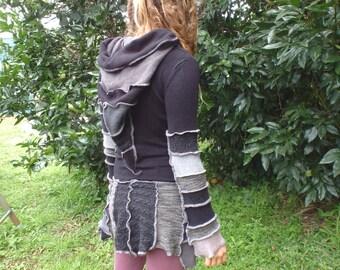 Long sleeved winter pixie dress - upcycled patchwork pixie dress - hooded dress - mini dress - winter dress - festival dress