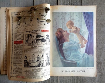 """1960 Antique Almanac """"Vermot"""" Popular encyclopedia of practical life.Old French Book. Vintage French book ."""