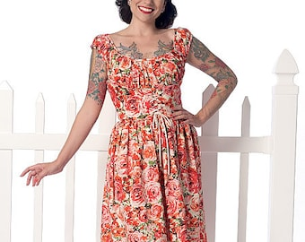 Butterick Pattern B6322 Misses' Ruched Corset-Style Dress