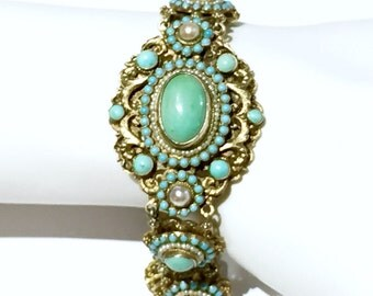 Austro Hungarian turquoise silver gold gilt pearl seeds  bracelet
