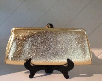 50's Handbag Purse, Gold Lemay Clutch Handbag