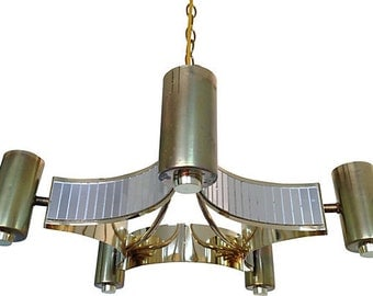 1970s Mirrored Star Chandelier