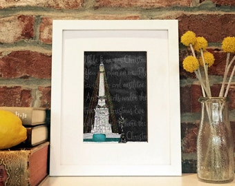 Monument Circle -5x7 matted print