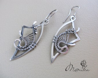 "Sterling silver earrings ""Running on Waves"""