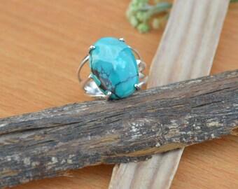 Tibetan Turquoise Ring, Turquoise Gemstone Ring, 925 Sterling Silver Ring, Prong Set Ring Size 7, Turquoise Gemstone Ring
