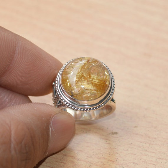 African Golden Yellow Rutile Quartz Ring, Solid 925 Sterling Silver Ring, November Birthstone Ring Jewelry, Yellow Gemstone Ring Size 7